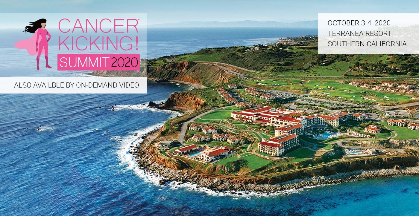 cancer kicking summit logo with backdrop of terranea resort